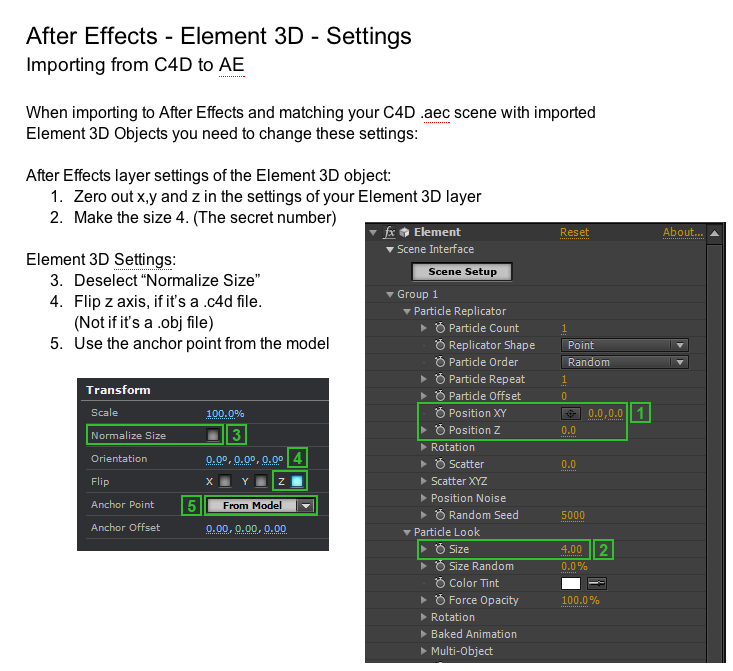 how to import c4d camera data into Element 3d  | particles