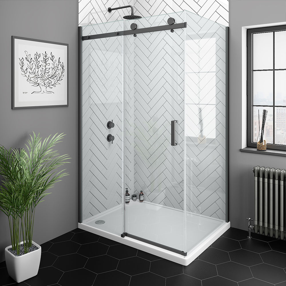 Shop The Arezzo Matt Black 1000 X 800mm Frameless Sliding Door Shower Enclosure At Victorian Plumbi Frameless Sliding Doors Shower Enclosure Black Shower Doors