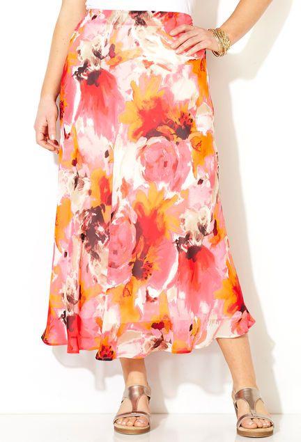 Watercolor Floral Skirt,