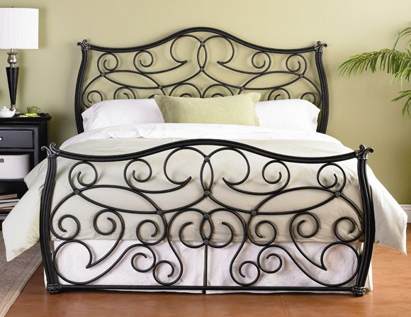Gorgeous Iron Bed Frame Queen with thick comforter and pillows