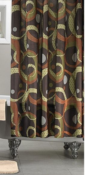 New Metro Olive Orange Brown Fabric Shower Curtain Liner Rings Geometric MyHome