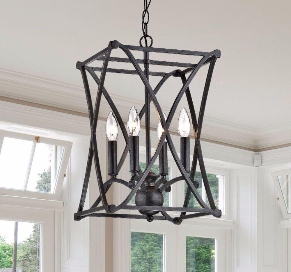 Joshua Modern Antique Black Iron X-shape Square Chandelier Indoor Flush Mount  #flushmount #chandelier #indoor #decor #home