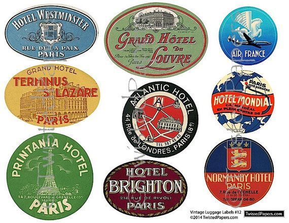 9 Large LUGGAGE STICKERS Vintage Paris & French by ...