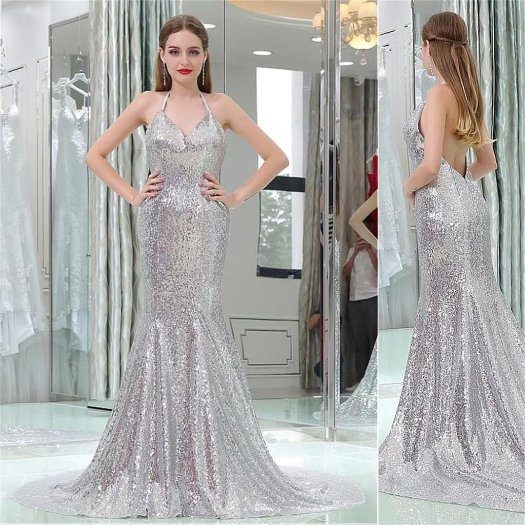 Charming silver sequin mermaid sexy popular gorgeous v back prom