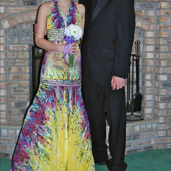 Mermaid Style Prom Dress Size 1. Worn Once. Halter Top. Beading Dresses Prom