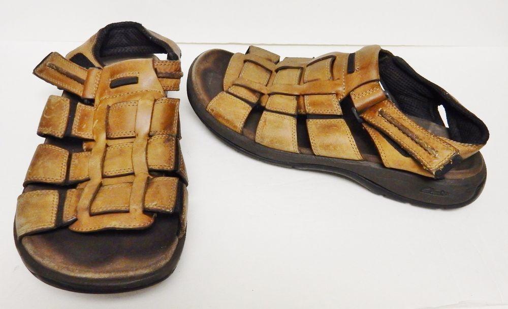 c0ba9b81726 Clarks Jensen Men s Sandals Leather Fisherman 30373 Velcro Strap Brown 11 M   Clarks  Fisherman