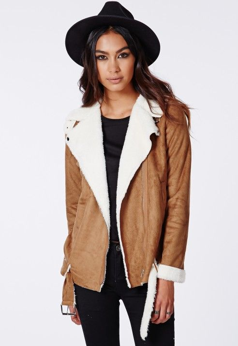 Bliss Faux Suede Shearling Jacket Tan - Coats & Jackets - Missguided