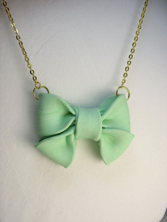 Bow necklace  big seafoam polymer clay bow by lennonsleadinglady, $14.00