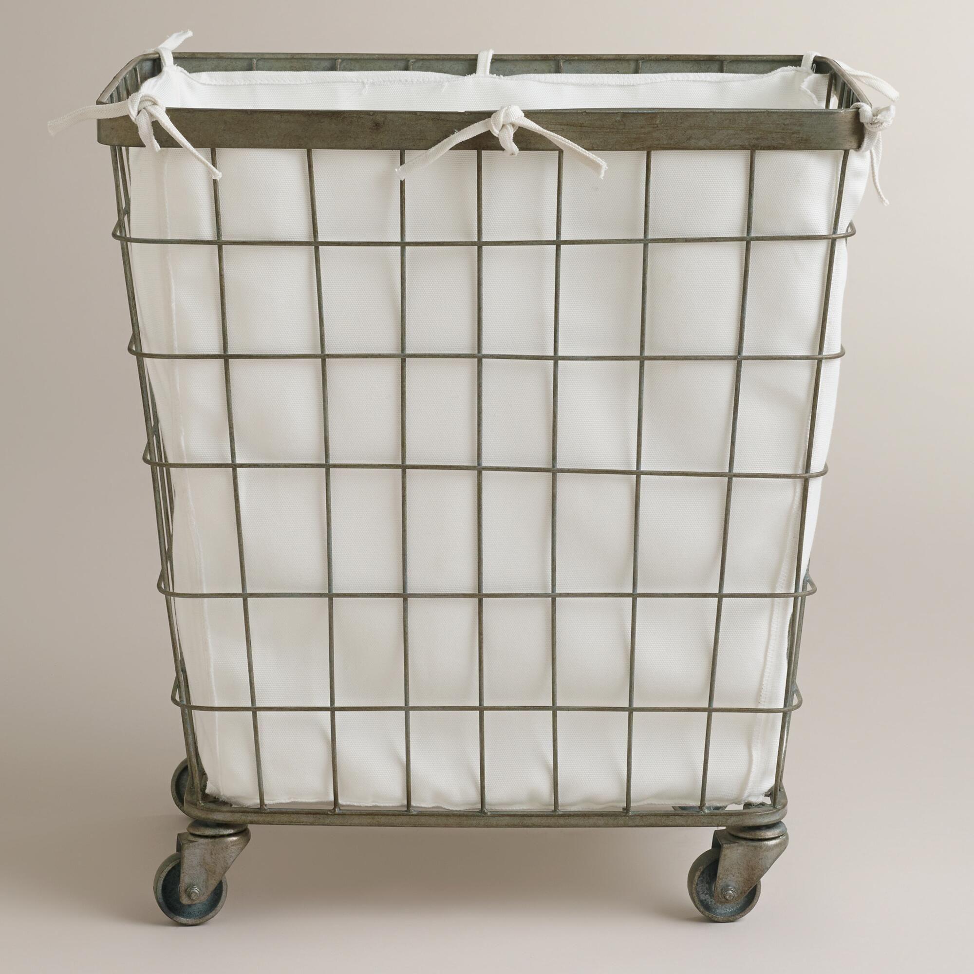 Ellie Rolling Hamper Metal Laundry Basket Basement Laundry Room