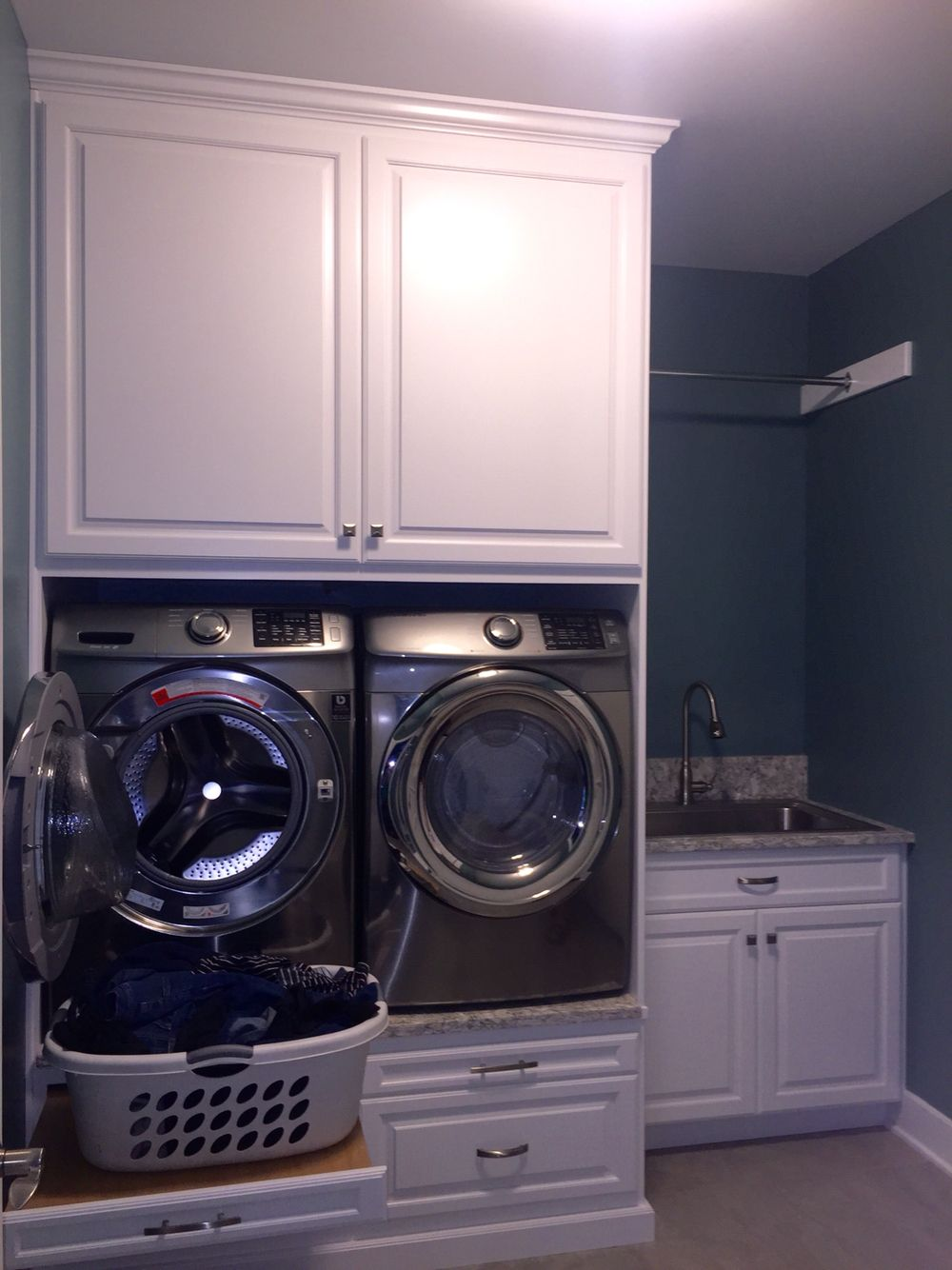 Laundry Room Color Is Sherwin Williams Moody Blue And Backsplash Is Cambria  Berwyn Quartz. Build Ins Were Made By Glicks Custom Cabinets.
