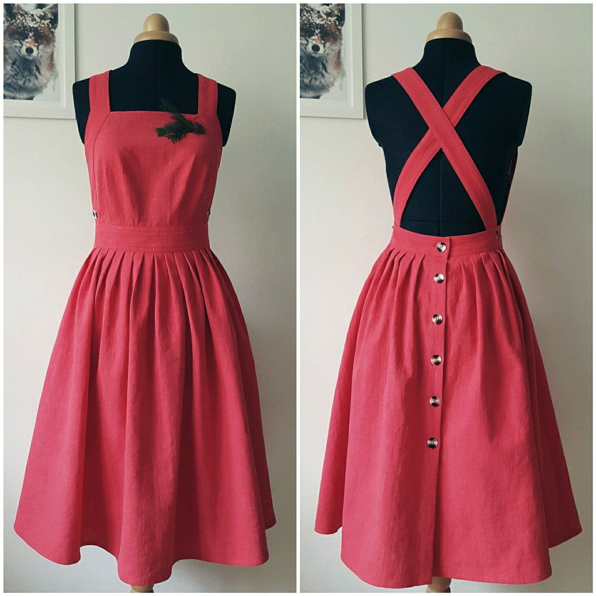 my new linen pinafore dress with full skirt. available in 27