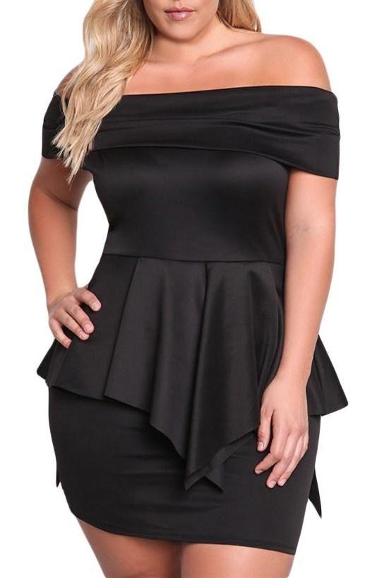Black Fold Over Off Shoulder Plus Size Peplum Dress Peplum Dresses