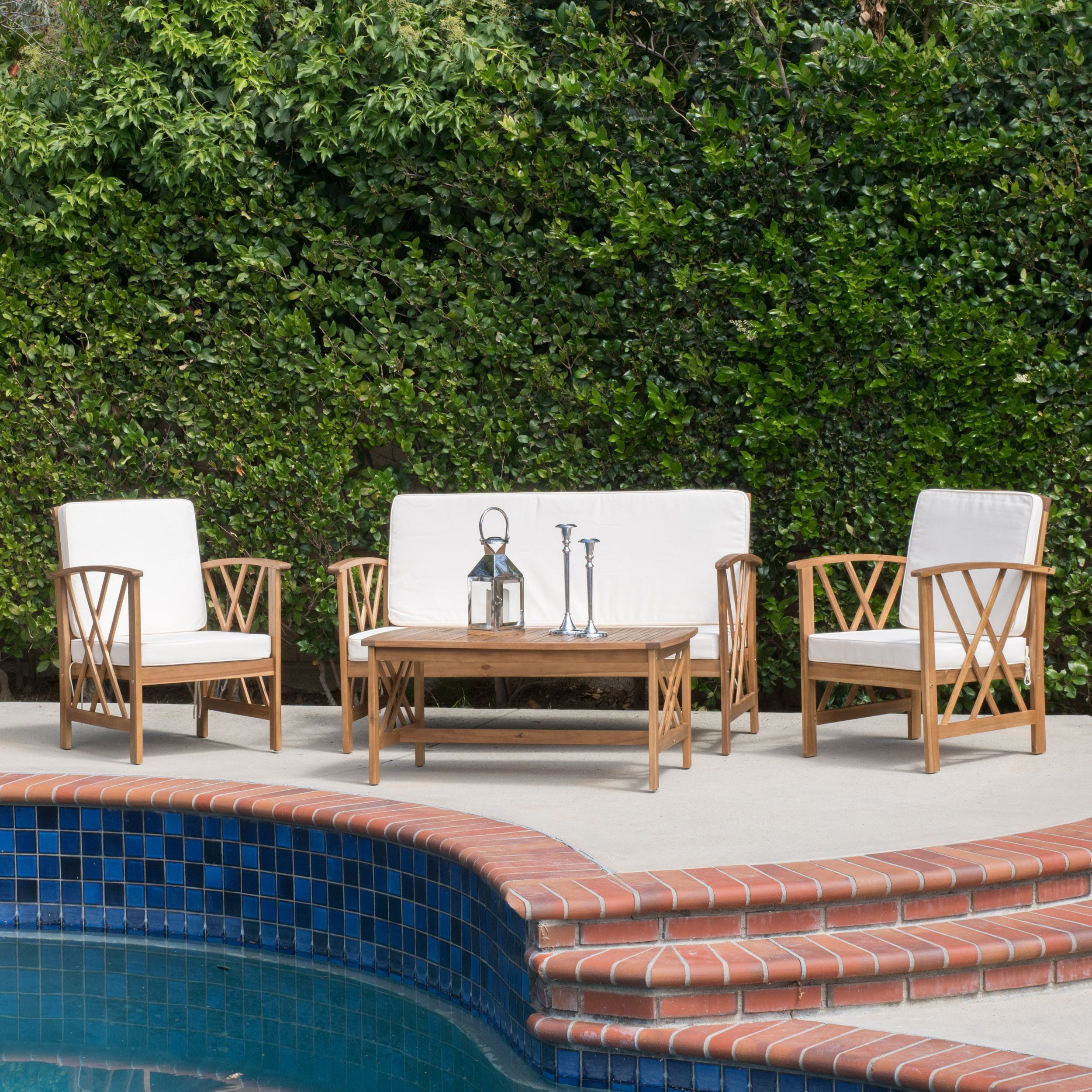 Langdon Outdoor 4-piece Acacia Wood Chat Set with Cushions by ...