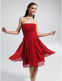 03fd889d59d7d Bridesmaid Dress Knee Length Chiffon A Line Strapless Dress. Get ...