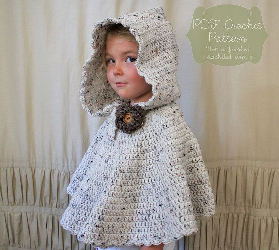 Crochet Pattern The River Hooded Shawl Toddler Child Adult Sizes