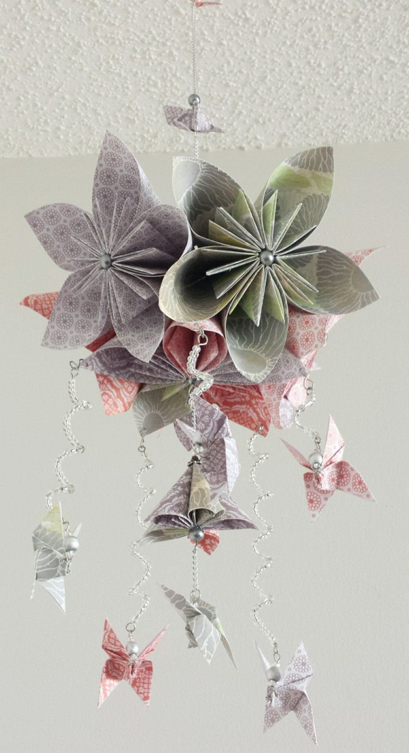 Baby girl flower mobile kusudama flower ball baby mobile unique baby mobile with origami flowers and butterflies gray white coral and a mightylinksfo