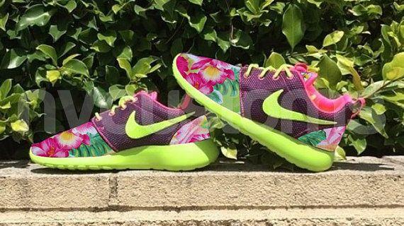 02260b055564 Nike Roshe Run Hyper Pink Volt Island Floral Garden Custom Womens ...
