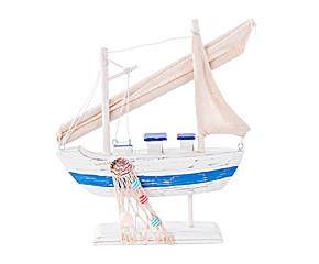 barco decorativo en madera de pino blanco y azul u pequeo