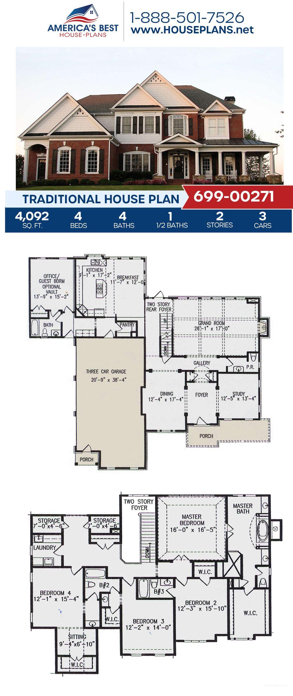 House Plan 699 00271 Traditional Plan 4 092 Square Feet 4 Bedrooms 4 5 Bathrooms In 2020 House Plans Dream House Plans Traditional House Plans