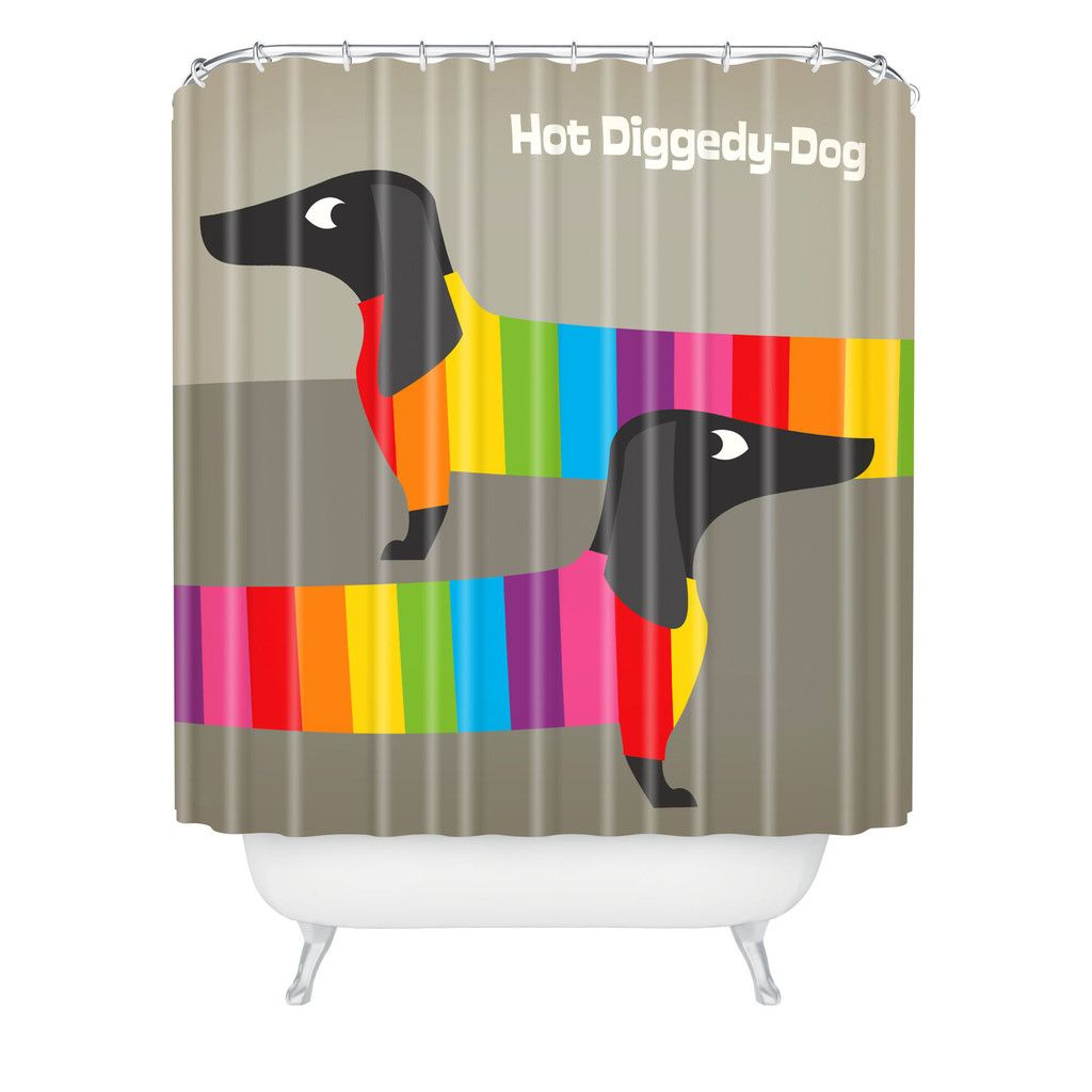 Anderson Design Group Rainbow Dogs Shower Curtain Deny Designs