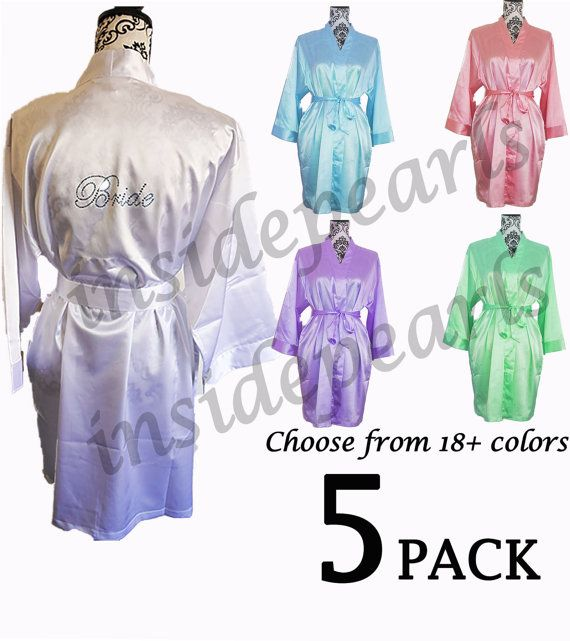 LUXURIOUS QUALITY Set of 5 or 6 Rhinestone Personalized Bride Bridesmaid  Robes Silk satin Gift dressing d2f6f51ad
