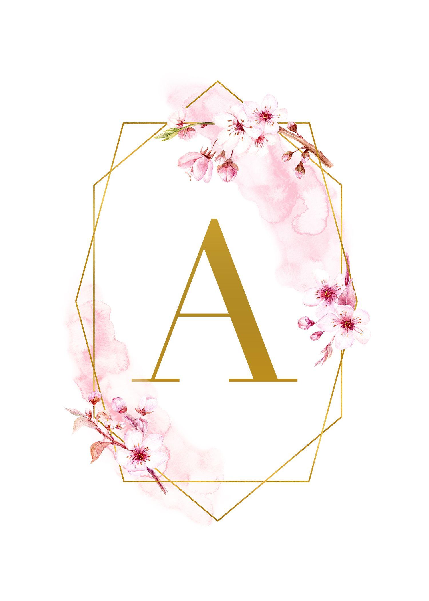 Free Printable Spring Time Glam Monograms The Cottage Market Monograma Papel De Parede Papel De Parede Grafico Letras Com Flores