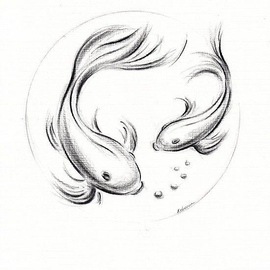 Good Luck Koi Koi Fish Charcoal Pencil Drawing Pencil Drawings Fish Drawings Fish Sketch