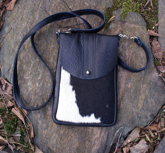 DAKOTA Cow Hide Bag  Black and White Hair on Hide  by margeandrudy