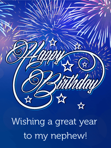 Blue birthday fireworks card for nephew shoot for the stars your send free blue birthday fireworks card for nephew to loved ones on birthday greeting cards by davia its free and you also can use your own customized bookmarktalkfo Gallery