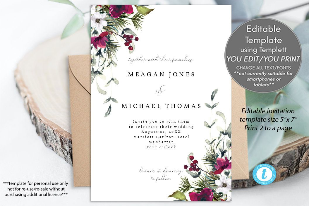 All in one christmas wedding invitations