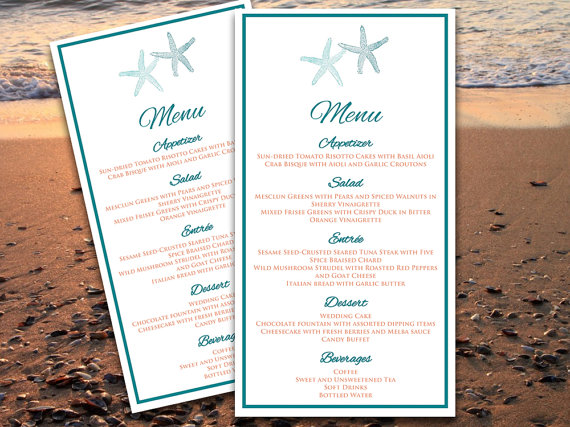 starfish beach wedding menu card microsoft word template caribbean water blue coral spice editable text downloadable wedding menu by