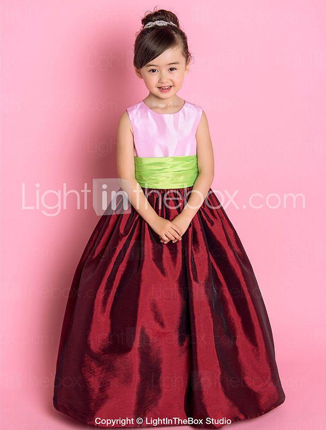 Una línea princesa longitud del piso vestido de niña de flores ...