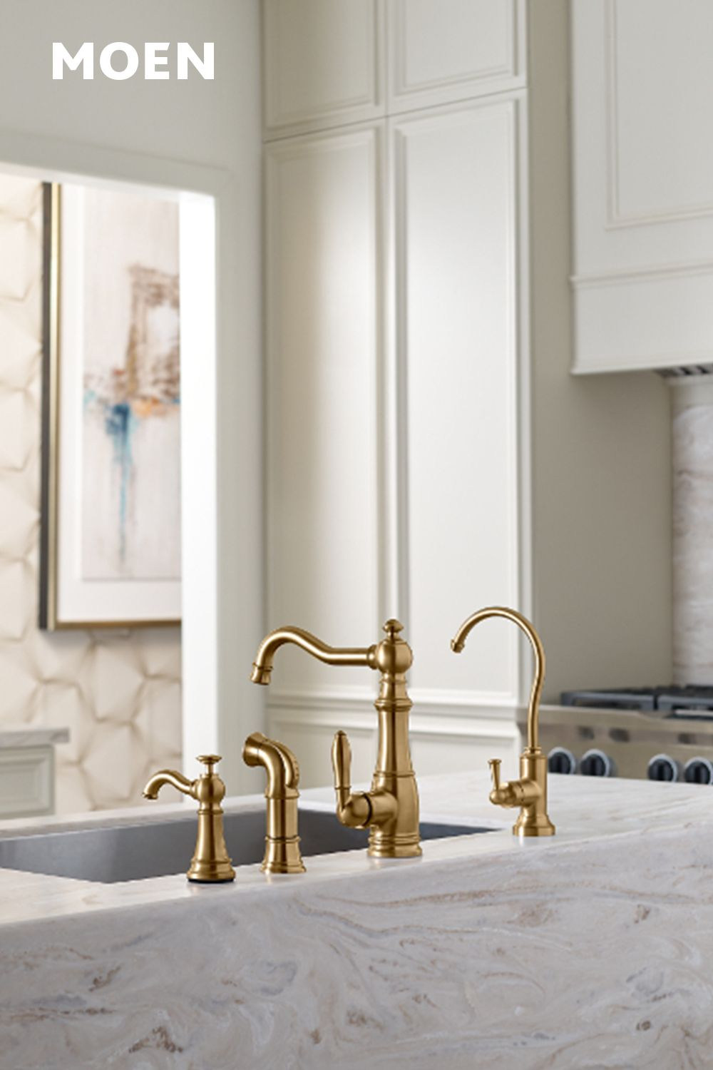 Our Weymouth Brushed Gold Faucet Brings Elegance To Any Kitchen Kitchen Faucet Gold Kitchen Faucet High Arc Kitchen Faucet