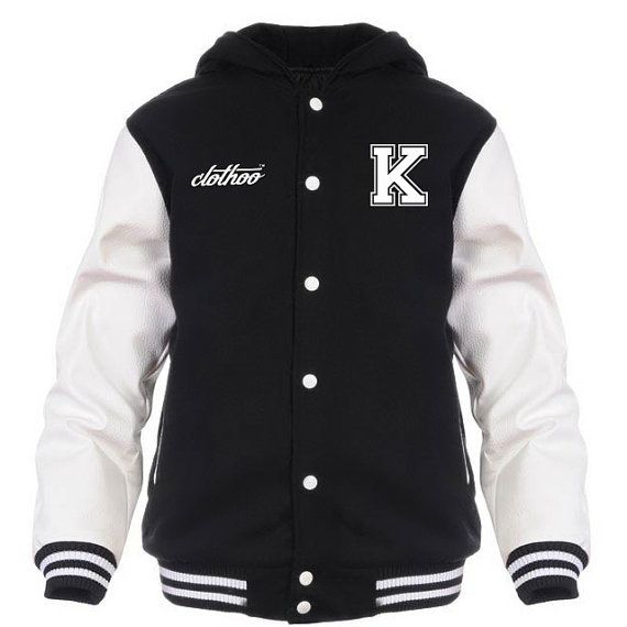 Varsity Jacket, Letterman Jacket with hoodie for men made of wool body and leather sleeves.