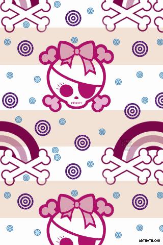 1522 Pirate Skull Girl Iphone Wallpaper Gif 320 480 Skull Wallpaper Skull Crafts Emo Wallpaper