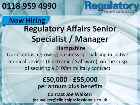 Excellent opportunity for a #Regulatory #Affairs Senior