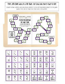 Subitizing Domino Pattern Recognition File Folder Math Game