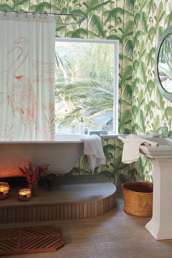 Decoracion Tropical Tambien En El Bano Papel Pintado De Casa