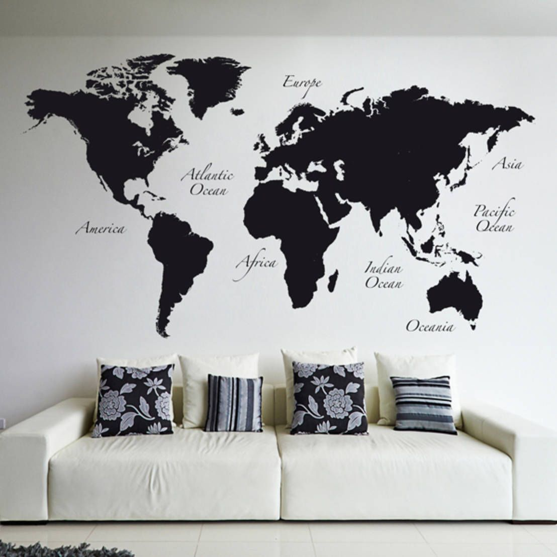 Upgrade your interior so it no longer bores you to tears wall black world map wall tattoos by crearreda wallstickers gumiabroncs Image collections