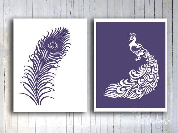 Home Living Decor Peacock Art Print Feather Wall Decor Modern Bathroom Wall  Art Dark Purple Gift