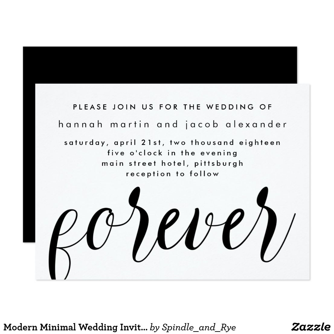 Modern Minimal Wedding Invitation | Wedding Ideas, Favors ...