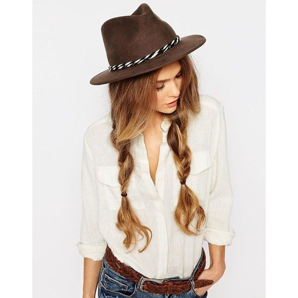 Brixton Felt Fedora With Twisted Cotton Band ($98) ❤ liked on Polyvore featuring accessories, hats, brown, brown felt hat, felt fedora hat, brixton hats, felt hat and band hats