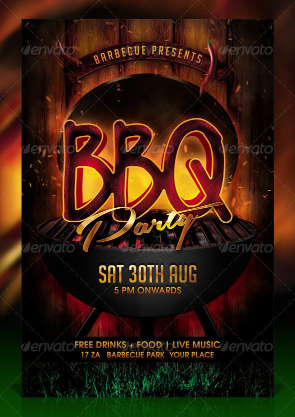 BBQ \/ Barbecue Party Flyer Template Party flyer, Flyer template - bbq flyer