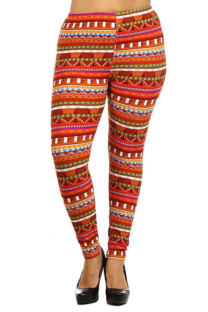 Orange Bright Zig Zag Stripe Plus Size Fleece Leggings - One Size