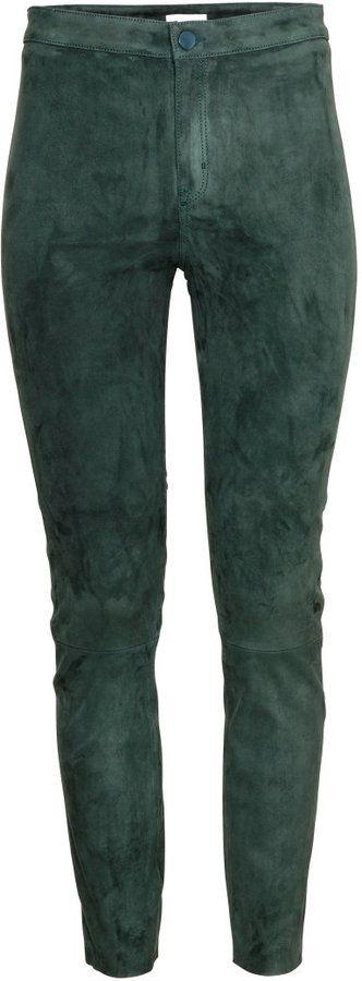 H&M Suede Pants - Dark green