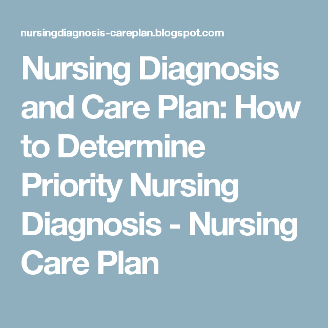 Nursing Diagnosis and Care Plan: How to Determine Priority ...