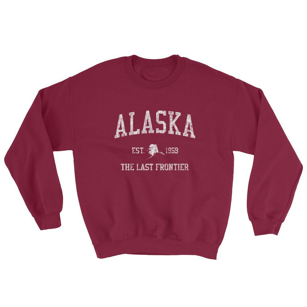 f21b802c3d07 Vintage Alaska sweatshirt with a classic crackled distressed arched Alaska  sports design is truly patriotic clothing. This unique vintage sweatshirt  makes a ...