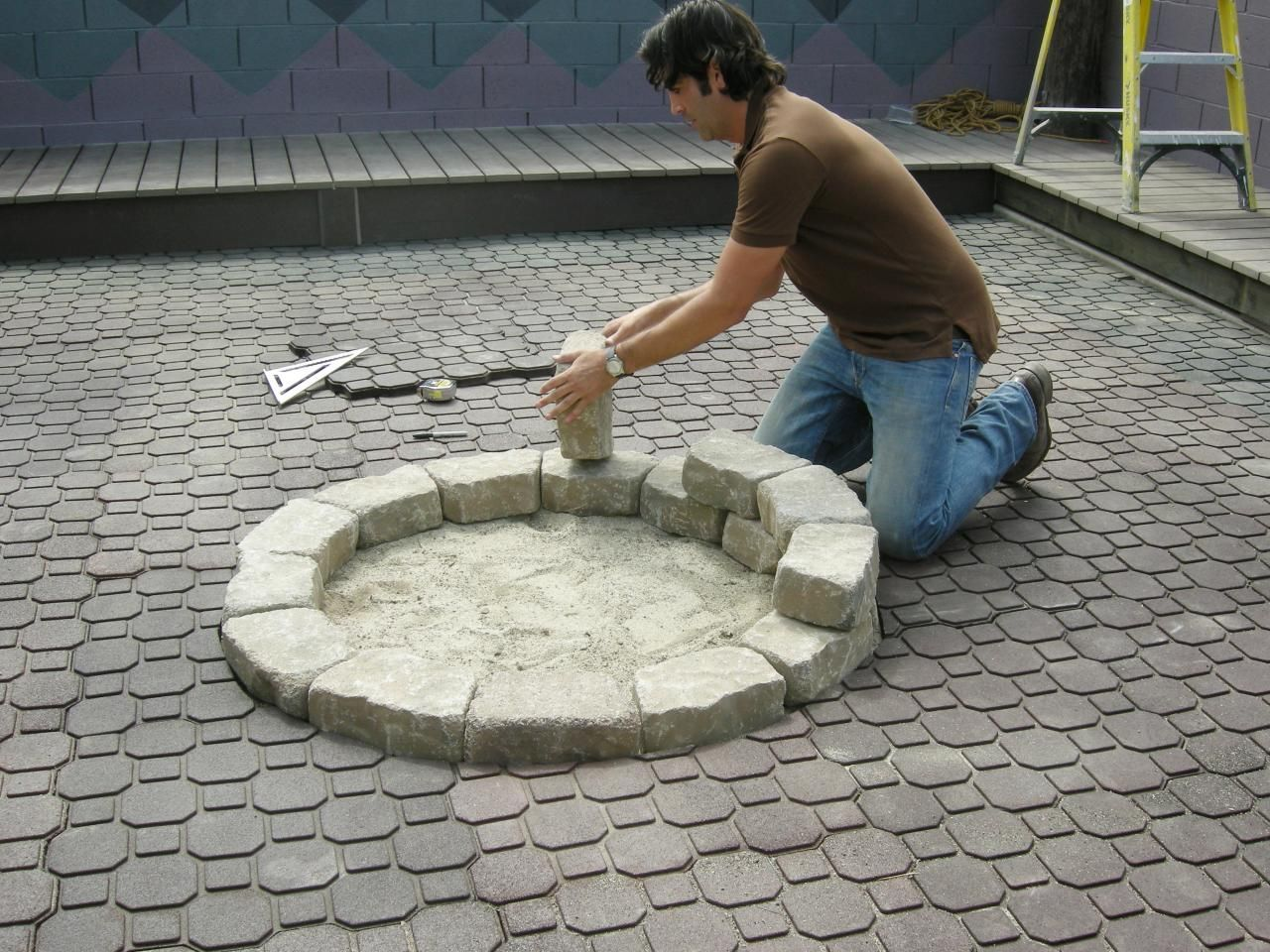 Stone fire pit designs patio traditional with artistic hardscape - How To Make A Backyard Fire Pit