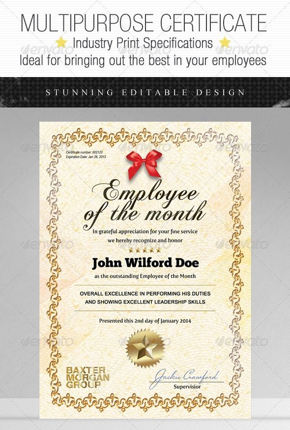 45+ Best Certificate \ Diploma Templates - PSD EPS AI Download - best employee certificate sample