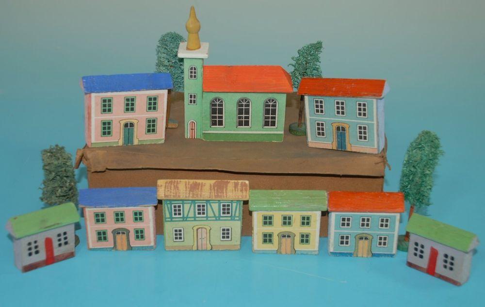 uralte Erzgebirge Häuser im Karton * Holz handbemalt